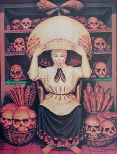 Halloween Skull Art #12 – Woman at Bakery